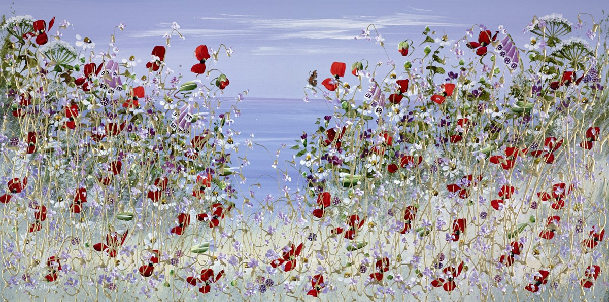 Bright Red Poppies IV by mary shaw -  sized 32x16 inches. Available from Whitewall Galleries